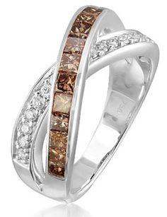 18K White Gold Diamond & Brown Diamond Ring
