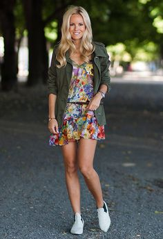 Floral dress and parka (by Sofi Snapshots) http://lookbook.nu/look/3829009-Floral-dress-and-parka