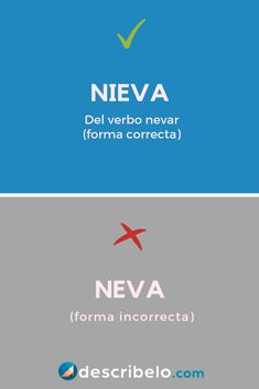 La forma correcta es nieva. Conoce más sobre el verbo irregular nevar y ejemplos fáciles siguiendo el enlace. Spanish Grammar, Spanish Vocabulary, Book Challenge, How To Speak Spanish, Copywriting, Study Tips, Motivation, Kids Education, Writing Tips