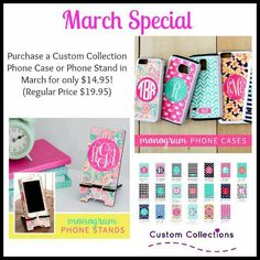 Custom Collections March special phone cases and phone stands for only $14.95 each!  shopcustomcollections.com/#ahogan