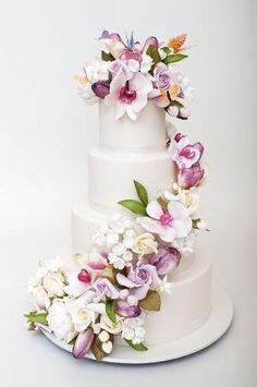 wedding cakes with cascading colorful flowers | Cascading Flowers by salwen73