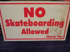 Vintage Metal Sign red and white Skateboarding by HankiePanky