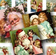 This vintage Christmas digital collage sheet features 63 different .85-inch squares with sweet cherub-like children, Angels, Santas and other Christmas #printables for jewelry, crafts and DIY. By piddix.