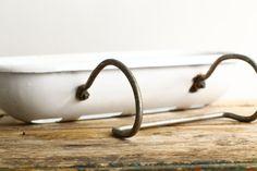 Antique Enamel Soap Dish Tub Caddy Basket for Bath by CrolAndCo