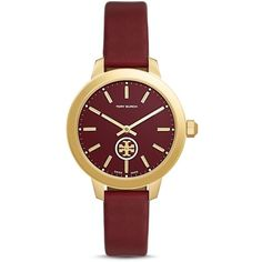 Tory Burch Collins Leather Strap Watch, 38mm (32470 DZD) ❤ liked on Polyvore featuring jewelry, watches, red, leather wrist watch, tory burch, tory burch watches, leather jewelry and leather-strap watches