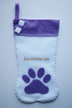 "16"" x 7.5"" White & Purple Christmas Paw Stocking."