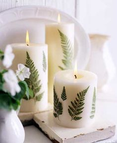 A Leafy Link..● Diy Decorated candles like these can be expensive. Save money by making your own using plain candles and fern leaves.
