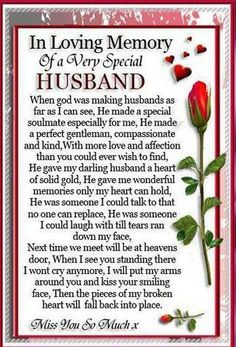 Husband in Heaven Poems . -----------TTS In loving Memory of my Angels: Angelversary My sweet Husband today ( my Mom too tomorrow went to Heaven different years - still miss them with all my heart every day Heaven Poems, Heaven Quotes, Love Quotes, Missing My Husband, Husband Love, Perfect Husband, Happy Husband, Bob Marley, Birthday In Heaven