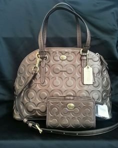 COACH Peyton Op Art Leather Cora Domed Satchel Wallet Bag Purse  SET Bronze NEW #Coach #Satchel