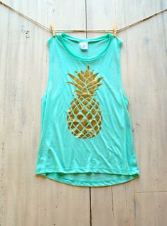 Pineapple Tank Top / Shirt / Summer / Bachelorette Party Shirts / Gold Pineapple / Cute Shirts / Muscle Tank / Plus Size / Ladies Top Pineapple Clothes, Pineapple Shirt, Gold Pineapple, Pineapple Ideas, Pineapple Room, Tank Top Shirt, Tank Tops, Festivals, Tumblr Fashion