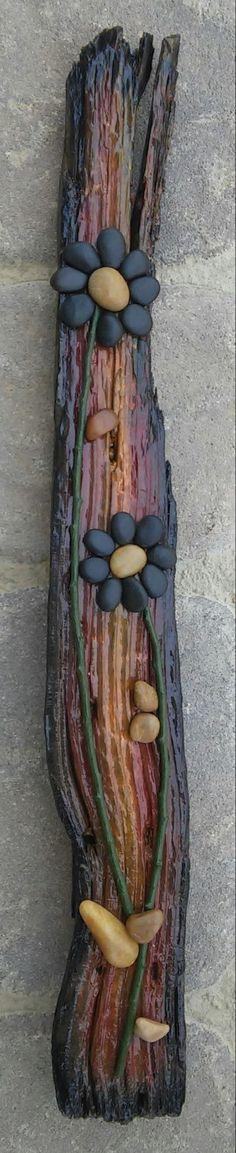 Pebble Art / Rock Art (string of black flowers), on reclaimed wood, approx. 22x3…