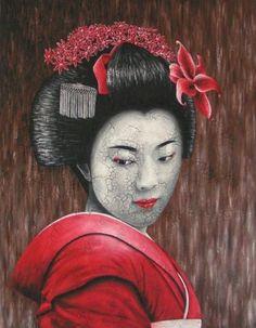 portrait geisha rouge (Painting), 90x70 cm by Chrystel Mialet acrylique, huile et matière craquelée sur toile - juin 2006 encadrement bois noir