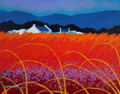 "The reds are catching my eye tonight. Strong contrasts. ""Wild Flowers County Wicklow"", by John Nolan."