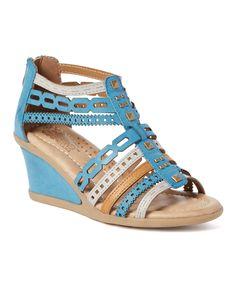 Blue Antolene Wedge Sandal