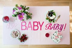 Planning a baby shower? This Oh Baby Tablecloth DIY is delightful!   via Oh Happy Day!