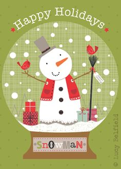 Lucy Belfield Design and Illustration- snowman snowglobe@pennfoster #choosetobemorefestive #bemorefestive