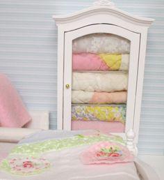 Shabby Style Quilt HutchDollhouse MIniature by RibbonwoodCottage-Etsy
