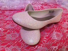 White Glitter Bridal Shoes - Wedding Flats