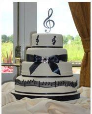 Musical themed Wedding Cake delivered to The Moat House, Acton Trussell Staffordshire. | Sugar Rose Cakes