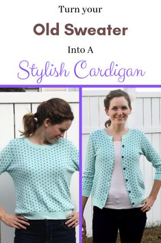 How to Turn an Old Sweater into a Stylish Cardigan Turning an Old Sweater Into a Stylish Cardigan Old Sweater, Cute Sweaters, Sewing Clothes, Diy Clothes, Diy Kleidung Upcycling, Renegade Seamstress, Alter Pullover, Dress Card, Thrift Store Crafts