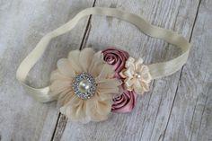 Dusty Rose and Cream Couture Flower Headband - Vintage Pink Newborn Headband - Girls Headband - Photography Prop