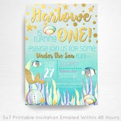 Mermaid Birthday Party Printable Invitation YOU Print Gold Aqua Teal Purple  This is an emailed file, nothing will be shipped to you. Please include your childs name, age and party details in the notes to seller section at checkout.  We will email your high-resolution, print-ready file within 48 hours of receiving your party details and photo (if photo invitation has been purchased please email your photo to amy [at] printpopparty.com).  Your invite will be formatted to print 5x7 unless…
