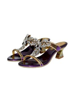 #AdoreWe #VIPme Sandals - G·Sharrow Purple Open-Toe Embellished T-Strap Chunky Sandals - AdoreWe.com