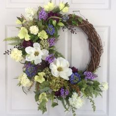 Spring Door Wreath-Summer Wreath-Front Door Wreath-Easter Wreath-Magnolia Wreath-Hydrangea Wreath-Designer Wreath-Wedding Decor This wreath is so Summer Door Wreaths, Easter Wreaths, Wreaths For Front Door, Spring Wreaths, Holiday Wreaths, Hydrangea Wreath, Sunflower Wreaths, Floral Wreaths, Greenery Wreath