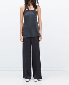 Image 2 of STUDIO WIDE-LEG SILK SATIN TROUSERS from Zara