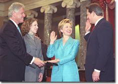 Hillary Rodham Clinton swearing in.  Photography from the William J. Clinton Presidential Library.