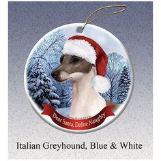 Italian Greyhound Blue Howliday Dog Christmas Ornament