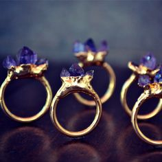 AMETHYST MOUNTAIN /// Stackable Gemstone Gold Electroformed Ring door luxdivine op Etsy https://www.etsy.com/nl/listing/162615393/amethyst-mountain-stackable-gemstone