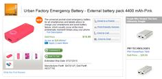 Save 20% on Urban Factory External Battery with Coupon Code. Free shipping! The offer ends 01/08/2015.