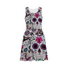 DStory Custom Flower Sugar Skull Women Sleeveless Sundress *** To view further for this item, visit the image link.