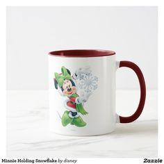 Holiday, Christmas. Disney. Minnie Holding Snowflake. Regalos, Gifts. Producto disponible en tienda Zazzle. Tazón, desayuno, té, café. Product available in Zazzle store. Bowl, breakfast, tea, coffee. #taza #mug