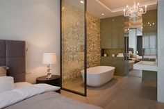Bedroom and bathroom design ideas glass partition wall between bedroom and bathtub space saving bathroom remodeling . bedroom and bathroom design ideas Bedroom With Bathtub, Master Bedroom Bathroom, Master Bedroom Design, One Bedroom, Master Bedrooms, Modern Bedrooms, Master Suite, Open Plan Bathrooms, Modern Small Bathrooms