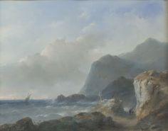 Andreas Schelfhout | Een rotsachtige kust, Andreas Schelfhout, 1852 | Een rotsachtige kustlandschap met woeste zee. Op een pad lopen twee figuren, op een rots in het midden is een kruis geplaatst. Onderdeel van de collectie pastels.