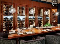 Custom Wine Cabinets overlooking the dining restaurant at Salt restaurant and…