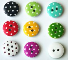 100  Multicolor 15mm polka  small polka dot rustic plaid handmade diy accessories small wooden buttons(China (Mainland))