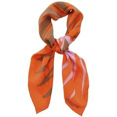 CHARLOTTE SPARRE JULIA Orange Silk Woman Scarf ($116) ❤ liked on Polyvore featuring accessories, scarves, silk shawl, silk scarves, orange silk scarves, charlotte sparre and orange shawl