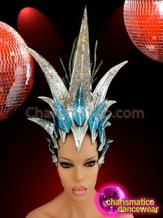 CHARISMATICO-Drag-Queen-Crystal-Accented-Blue-And-Silver-Glitter-Diva-Headdress