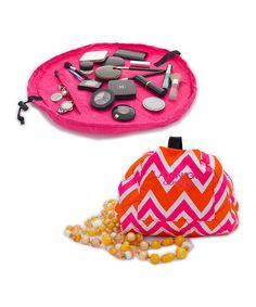 GENIUS!!  Pink & Orange Zigzag Cosmo Transforming Cosmetic Bag by Lay-n-Go on #zulily! #zulilyfinds