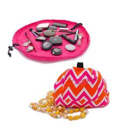 GENIUS!!  Pink & Orange Zigzag Cosmo Transforming Cosmetic Bag by Lay-n-Go on #zulily! #zulilyfinds