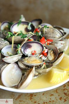 Wine and Butter Steamed Clams from HeatherChristo.com
