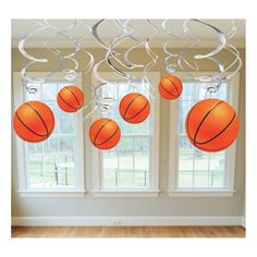 Each basketball cutout is attached to a swirled silver foil decoration that may be attached to the ceiling with scotch tape