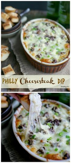 Philly Cheesesteak Dip, perfect for Game Day from NoblePig.com.
