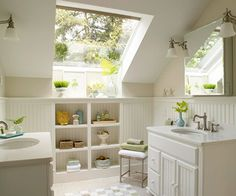 I love angled ceilings in bathrooms. I am not sure why other than maybe it adds coziness to an otherwise cold sterile room. I LOVE the light coming on the window in this bathroom. It would have to include a clawfoot tub that is out of the picture or maybe a jetted garden tub.