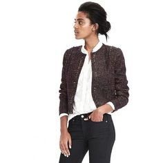 Banana Republic Multicolor Boucle Tweed Jacket ($158) ❤ liked on Polyvore featuring outerwear, jackets, petite, white collarless jacket, petite tweed jacket, collarless jackets, petite boucle jacket and boucle jacket