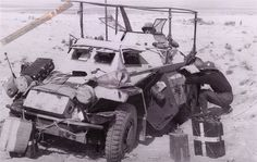 A Afrika Korps SdkFz 222 light armored car in hot desolate conditions