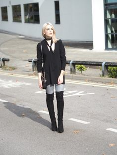 Suede over the knee boots street style #fashionblog #lurchhoundloves